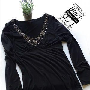 Karen Kane Black Sequined Top Size L